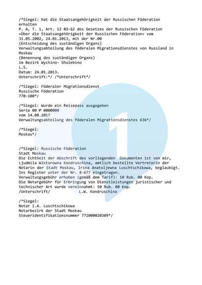Вторая страница перевода на немецкий язык