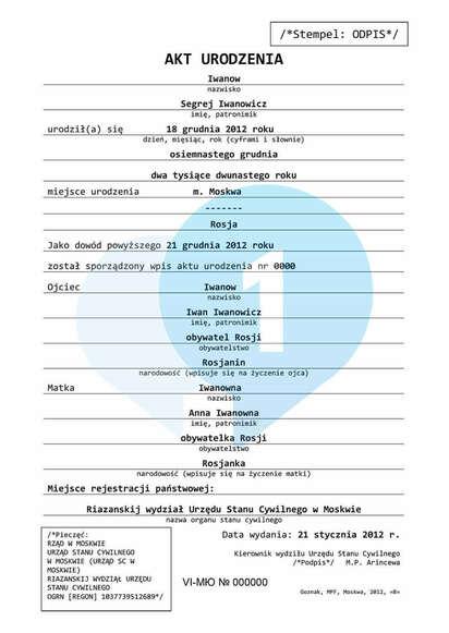 Перевод на польский язык нотариальной копии исходного документа